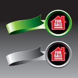 For sale sign green and gray ribbons Royalty Free Stock Photo