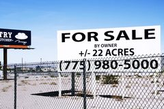 For sale sign grounds in the South Strip in Las Vegas. A for sale sign grounds in the South Strip in Las Vegas, Nevada, on Oct 26, 2015. Las Vegas Stock Photos