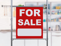 For sale sign hanging with metal pipe Stock Image