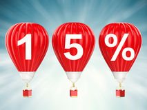 15% sale sign on hot air balloons. 15% sale sign on 3d rendering hot air balloons Stock Images