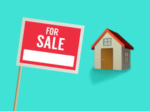 For sale sign and house vector Stock Photography