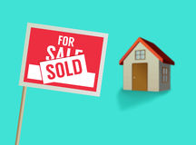 For sale sign and house vector Royalty Free Stock Images