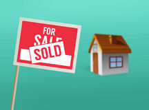 For sale sign and house vector Royalty Free Stock Photo