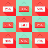 Sale 25 30 50 and 70 % Sign Icons Set. Illustration of Sale 25% 30% 50% and 70 % Sign Icons Set Royalty Free Stock Photography