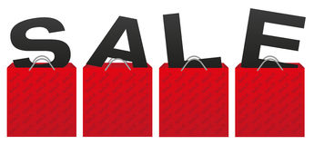 Sale Sign. Illustration of Red Shopping Bags With Letters vector illustration