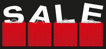 Sale Sign. Illustration of Red Shopping Bags With Letters on Black Background royalty free illustration