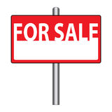For sale sign. An illustration of a 'for sale' sign with a stand stock illustration