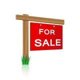 For sale sign made ​​of wood Stock Image