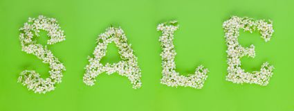 Sale sign made of white cherry tree flowers Royalty Free Stock Photo