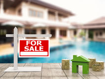 For sale sign with mock up house Stock Image
