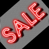 Sale sign neon with strips background Stock Image