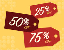 Sale sign. Sale sale with 25, 50, and 75% off price tags Royalty Free Stock Photo