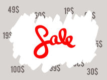 Sale sign. Old prices painted with red text sale Stock Photo