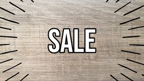Sale icon on wooden background stock illustration
