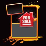 For sale sign on orange splattered advertisement Royalty Free Stock Photography