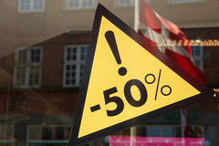 Sale sign 50 percent off the price Stock Image