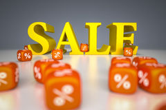Sale sign with percentage dice Stock Photo