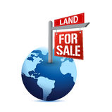 For sale sign on planet Earth illustration. Design over white Royalty Free Stock Image