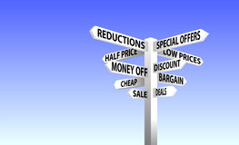 Sale sign post. Sign post showing different sale related words Stock Image