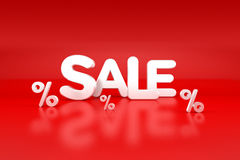 Sale sign with price reductions blank. Red sign with text 'sale' in white uppercase letters and three percentage symbols below but no figure for price reductions Stock Photos