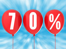 70% sale sign. On red balloons Royalty Free Stock Images