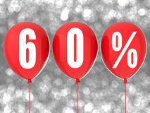 60% sale sign. On red balloons Royalty Free Stock Photos