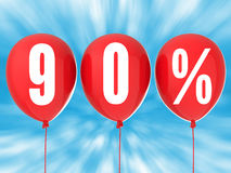 90% sale sign on red balloons Stock Images