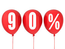 90% sale sign on red balloons Royalty Free Stock Image