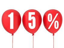 15% sale sign on red balloons. Isolated on white stock illustration