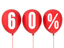 60% sale sign on red balloons. Isolated on white Stock Photos