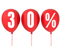 30% sale sign on red balloons. Isolated on white Stock Photography