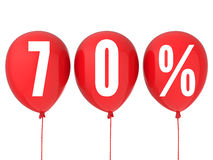 70% sale sign on red balloons Stock Photography