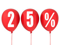 25% sale sign on red balloons Royalty Free Stock Photo