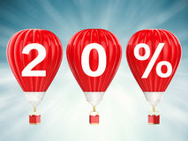 20% sale sign on red hot air balloons Royalty Free Stock Photo