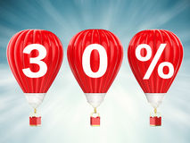 30% sale sign on red hot air balloons Stock Images