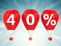 40% sale sign on red hot air balloons Royalty Free Stock Photography