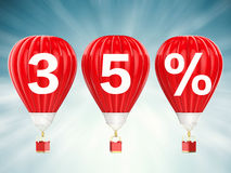 35% sale sign on red hot air balloons Stock Photography