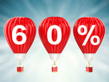 60% sale sign on red hot air balloons. 60% sale sign on 3d rendering red hot air balloons Royalty Free Stock Images