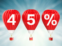 45% sale sign on red hot air balloons. 45% sale sign on 3d rendering red hot air balloons Royalty Free Stock Image