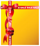 Sale sign in red ribbon. Sale sign in yellow background with red ribbon Stock Photos