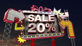 Sale sign 'SALE 20%' in led light billboard promotion. stock video footage