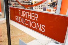 Sale sign in shoe shop Royalty Free Stock Photos