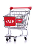 Sale sign on shopping cart Royalty Free Stock Photography