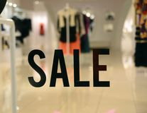 On Sale sign at the store front Stock Image