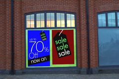 Sale sign. Store sale up to 70% off. Stock Images