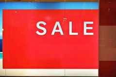 Sale sign on store window. Sale signs in shop window, big reductions Royalty Free Stock Photos