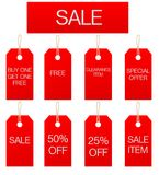 Sale Sign and Tags. Illustrated 'Sale' sign and printed special offer tags, in red with white print.  Tags have holes with string effect loop attachment Stock Images