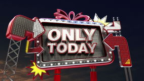 Sale sign 'ONLY TODAY' in led light billboard promotion stock video footage