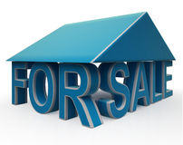 For Sale Sign Under Home Royalty Free Stock Images