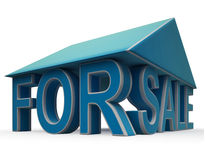 For Sale Sign Under Home Roof Royalty Free Stock Photo